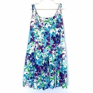 Lauren Ralph Lauren White Blue Floral Pleat Dress